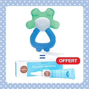 Pack Dodie Anneau de dentition lapin réfrigéré 2en1 bleu vert + Babygencalm Gifrer OFFERT