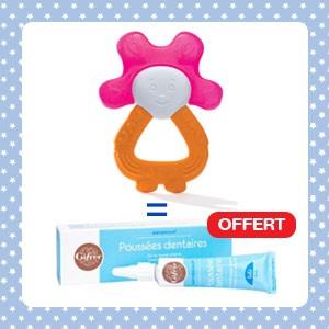 Pack Dodie Anneau de dentition lapin réfrigéré 2en1 rose orange + Babygencalm Gifrer OFFERT