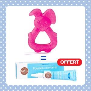 Pack Dodie Anneau de dentition lapin réfrigéré rose + Babygencalm Gifrer OFFERT