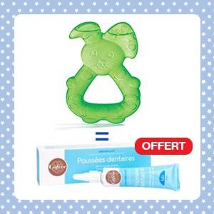 Pack Dodie Anneau de dentition lapin réfrigéré vert + Babygencalm Gifrer OFFERT