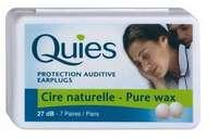 Quies Boule Cire Naturelle Protection Auditive de Qualité -27 db Contre le Bruit. (8 paires)
