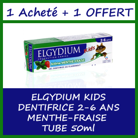 Offre ELGYDIUM KIDS DENTIFRICE 2-6 ANS MENTHE-FRAISE TUBE 50ML - 1 Acheté + 1 Offert