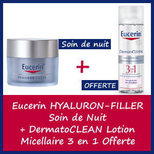 Offre Eucerin Hyaluron-Filler Soin Anti-rides Nuit 50ml + DermatoClean lotion Clarifiante 200ml Offerte