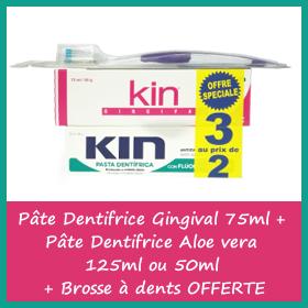 OFFRE Kin Pâte Dentifrice Gingival 75ml + Pâte Dentifrice Aloe vera + Brosse à dents OFFERTE