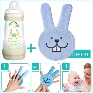 Pack MAM Biberon Easy Start Anti-Colique (+2mois) 260ml + Oral Care Rabbit soin dentaire Offert