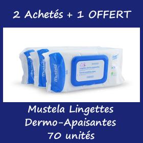 Offre Mustela Lingettes dermo-apaisantes 70 unités - 2 Achetés + 1 OFFERT