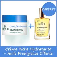 Offre Nuxe Crème Riche Hydratante Fraîche de Beauté 50ml + Nuxe Huile prodigieuse 30ml OFFERTE