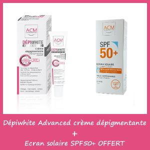 Offre ACM Dépiwhite Crème - advanced Soin Dépigmentant (40ml) + Ecran solaire spf50+( Offert)