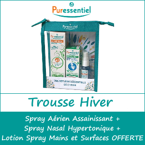 Puressentiel Trousse Hiver Spray Assainissant 75ml + Spray Nasal Hypertonique 15ml + Lotion Spray Mains et Surfaces 25ml OFFERT