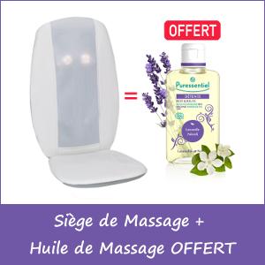 Offre Siège de Massage Premium avec Télécommande Royal Thermes + Huile de Massage Bio Détente Lavande / Néroli Puressentiel 100ml OFFERT