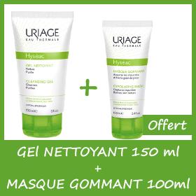 Offre Uriage Hyséac Gel Nettoyant 150ml + Hyséac Masque gommant 100ml OFFERT