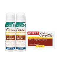 Offre pack Rogé Cavaillès Lot de 2 Déo Absorb+ Spray Compressé Efficacité 48h 75ml + Savon Extra Doux 250 grs OFFERT