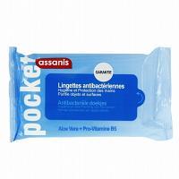 Assanis Pocket Lingettes Antibactériennes Aloé vera + Pro-vitamine B5 sans Rinçage 25 unités