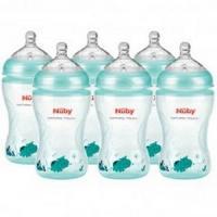Nûby PACK Composé de :- 6 biberons Poly imprimés teintés bleu clair 330ml avec tétine débit moyen +0 mois Réf : NTVP33