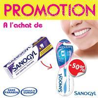 Sanogyl Dentifrice Soin Essentiel Fraicheur (tube 75ml) + Brosse à Dents soin Gencives à -50%