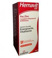 Hemavit fer complexes vitamines B et minéraux gout orange 200ml