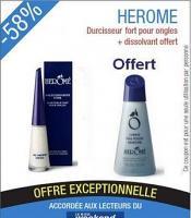 Promotion Herôme durcisseur fort (10 ml)+ Dissolvant sans acétone (120 ml)