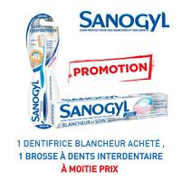 Sanogyl dentifrice blancheur et soin  = Sanogyl brosse à dents interdentaire à -50%