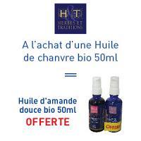 Herbes et traditions huile de chanvre bio 30ml = Huile d'amande douce bio 30ml offerte