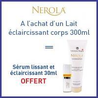 Offre Nerola lait corps éclaircissant 300ml = crème lissante et éclaircissante 30ml est offerte