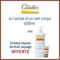 Offre Rogé Cavaillès lait corps 400ml = crème mains format voyage offerte