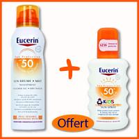 Offre EUCERIN SUN Brume Transparente Toucher Sec 50 + Sun spray kids spf 50 (200 ml) Offert