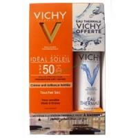 Offre Vichy Idéal Soleil Crème Onctueuse (Texture blanche invisible) SPF50+ (50 ml) + Vichy Eau Thermale Offerte