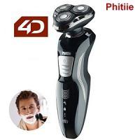 Phitiie Rasoir Electrique rechargeable lavable 360° système de rasage 4D rotary shaver BG308