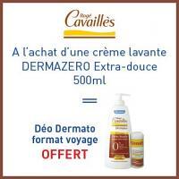 Offre Rogé Cavaillès crème lavante extra-douce 500ml = Deodorant sans sels d'aluminium format voyage est offert