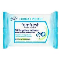 Femfresh 10 lingettes intimes format pocket