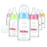 Nûby Biberon en verre col standard avec logo Nuby 120ml et tétine débit lent +0mois Réf : ID1178