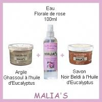 Offre Malia's Eau Florale de rose  100ml + Argile  Ghassoul à l'huile d'Eucalyptus 80G + Savon  Noir Beldi à l'Huile  d'Eucalyptus 80G