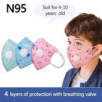 Masque KN95 pour enfants avec filtre de 4 couches( rose)