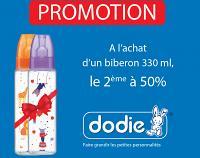 A l'achat d'un biberon Dodie 330ml, le 2 ème à 50%