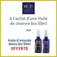 Offre Herbes et traditions huile de chanvre bio 50ml = Huile d'amande douce bio 50ml offerte