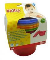 Nuby 6 Petits pots avec couvercle 300ml  Réf :  ID91164
